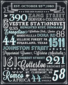Address Typography Project   Must be printed