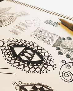 Pages full of primitive elements and brainstorming for new patterns. #twoifbyseastudios #surfacepattern #primitiveart