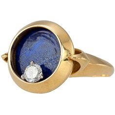 Unique Lapis Lazuli Diamond Gold Spinning Ring | 1stdibs.com
