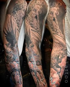 Finally got to finish Phil's #zeus sleeve! Three sessions for his #firsttattoo Who else is down to sleeve out for their first? #zeustattoo #greek #pegasus