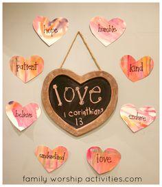 Family Worship Activities: heart words around chalkboard