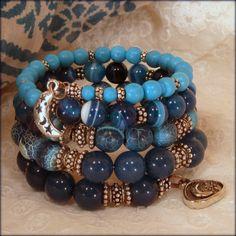 Sun & Moon   Memory Wire Bracelet by BlooMoonJewelry on Etsy, $178.00