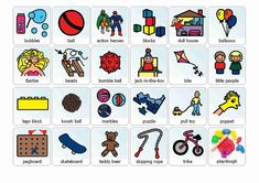 FREE Boardmaker illustrations of popular games/toys to download 3/4 down from top of page