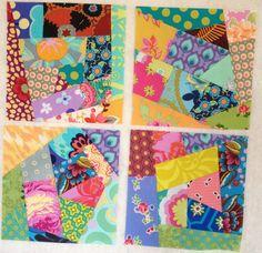 Scrap quilt blocks. Improvisational piecing. Improv pieced.