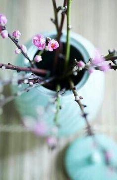 Pink buds in a vase.