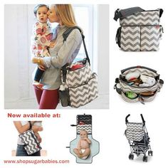 New grey chevron diaper bag!! Love this trendy print. www.shopsugarbabies.com
