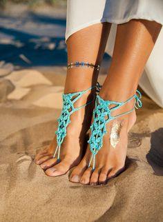 Türkis barfuß Sandale Füße Riemen Fuß gehäkelt Schmuck von barmine
