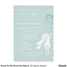 "Bunny On The Breeze Boy Baby Shower 5"" X 7"" Invitation Card"