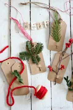 Quick Last Minute Gift Tags. Use fresh greenery, or use up bits of artificial greenery from other projects.