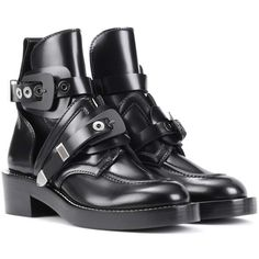 Balenciaga Ceinture Leather Ankle Boots ($1,390) ❤ liked on Polyvore featuring shoes, boots, ankle booties, black, short leather boots, black boots, black leather boots, ankle boots and black ankle boots