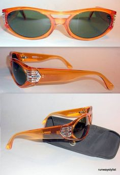 61639b1601113a GIANNI VERSACE RAREST MODEL E30 AMBER PERSPEX MENS SUNGLASSES-1990s-NEVER  WORN