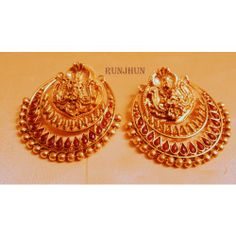 Online Shopping for BROAD GODDESS LAXMI DANGLERS | Earrings | Unique Indian Products by Runjhun Designer Jewellery  - MRUNJ30987394100
