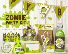 Zombie Party Printable kit Birthday decor banner flags bottle wrap cupcake toppers graveyard monster theme DIY green party favors download Printable Banner, Party Printables, Zombie Party, Halloween Party, Diy Party, Party Favors, Birthday Decorations, Halloween Decorations, Thank You Note Cards