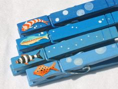 FISH CLOTHESPINS hand painted magnetic pegs blue by SugarAndPaint, $10.00