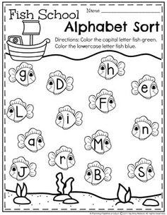 Preschool Alphabet Worksheet - Upper and Lowercase Fish Homeschool Kindergarten, Preschool At Home, Preschool Lessons, Preschool Classroom, Preschool Learning, Preschool Alphabet, Homeschooling, Preschool Printables, Kindergarten Worksheets