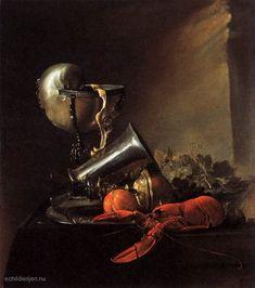 """Painting+""""Stilleven+met+kreeft+en+Nautilus+Cup""""+by+Jan+Davidsz.+de+Heem+-+www.schilderijen.nu"""