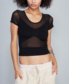 Black Criss-Cross mesh Inset Crop Top in Clothing, Shoes & Accessories, Women's Clothing, Tops & Blouses | eBay #fashion #croptop #style #beauty #deal