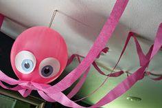 Dicas pra Mamãe: Peixe e polvo feitos de bexigas para festas Fundo do Mar