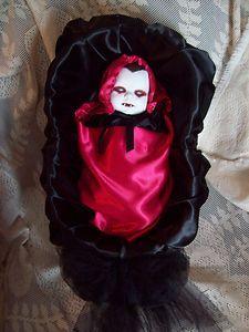 Zombie Baby Doll Vampire IN Casket Crib Halloween Haunted House Prop | eBay