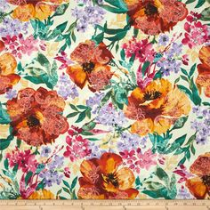 Timeless Treasures Indian Summer Large Floral Cream from @fabricdotcom  Designed by Timeless Treasures, this cotton print fabric is perfect for quilting, apparel and home decor accents. Colors include jade green, burnt orange, magenta, lilac, and cream.