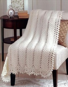 "Starting this pattern now. ""Vintage Lace"": Afghans For All Seasons Book 2. Also in Leisure Arts- #5950 ""Ripple Afghans""."
