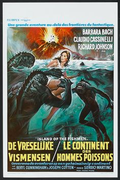 Island of Fishmen (L'isola degli uomini pesce, aka Screamers, aka Something Waits in the Dark) Italy) Horror Movie Posters, Cinema Posters, Movie Poster Art, Fiction Movies, Sci Fi Movies, Scary Movies, Science Fiction, Barbara Bach, Movie Posters