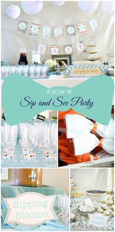 A Bow Tie Sip and See Party! These ideas would also work for a baby showe as well. Cute! via @Taryn {Design, Dining + Diapers}