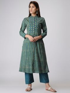 Buy Green Blue Ajrakh printed Cotton Kurta Women Kurtas Online at Jaypore.com Kurta Designs Women, Kurti Neck Designs, Kurti Designs Party Wear, Kurti Patterns, Dress Patterns, Indian Long Dress, Indian Outfits, Indian Attire, Hijab Fashion Inspiration