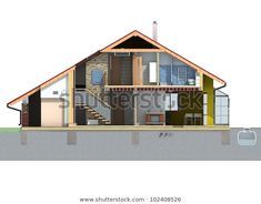 Front Section View House Pitched Roof Stock Illustration 102408526 House Main Door, House Entrance, House Windows, House Roof, House Pillars, Chettinad House, Home Door Design, House 3d Model, House Tiles