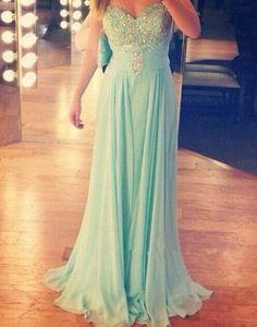 Charming Sweetheart Long Chiffon Beadings Prom Dress 2016, Simple Prom Dresses…