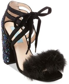 Blue by Betsey Johnson Luca Embelished Lace-Up Sandals | macys.com