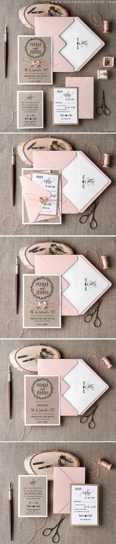 Handmade Wedding Invitation with wreath monogram #summerwedding #weddingideas