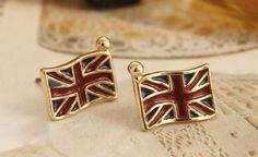 $2.39 Vintage British Flag Stud Earrings at Online Jewelry Store Gofavor
