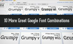 10 MORE GREAT GOOGLE FONT COMBINATIONS - We've got your back though and are serving up another great collection of Google Web Font combinations ripe for the stealing. Just copy and paste our code, then tweak the style to fit your needs and you'll be good to go!