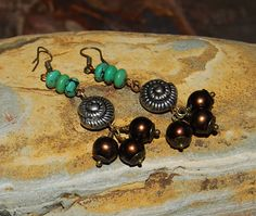 Turquoise silver Brass & brown Glass pearl by solagratiadesigns, $16.00
