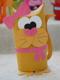 Cat toilet paper roll craft for kids