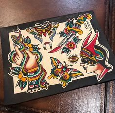 Traditional Tattoo Design, Neo Traditional Tattoo, American Traditional, Body Art Tattoos, Sleeve Tattoos, Tatoos, Sanduhr Tattoo Old School, Piercing Tattoo, Piercings