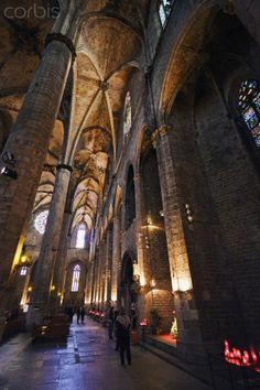 Interior view of the aisle in the Gothic Church of Santa Maria del Mar, Sant Pere, Santa Caterina i La Ribera, Barcelona, Catalunya