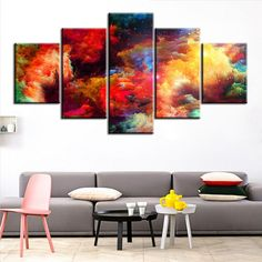 5 Pc Set Colorful Abstract Cloud No Frame Oil Painting Canvas Prints Wall Art Pictures For