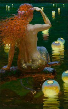Mermaid by Victor Nizovtsev. There is a whole series of paintings of this mermaid by this artist.