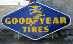 Goodyear Tires Vintage Porcelain Sign (Old 1940 Antique Good Year Tire Advertising Neon Sign)