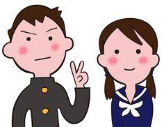 中学生 男の子と女の子のペア イラスト