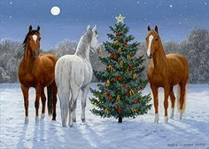 Moonlight Mischief I—Horses at Christmas Original Artwork Christmas Horses, Cowboy Christmas, Christmas Animals, Country Christmas, Share Pictures, Pictures To Paint, Christmas Drawing, Christmas Paintings, Winter Pictures