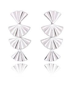 brinco de leques semi joia prata