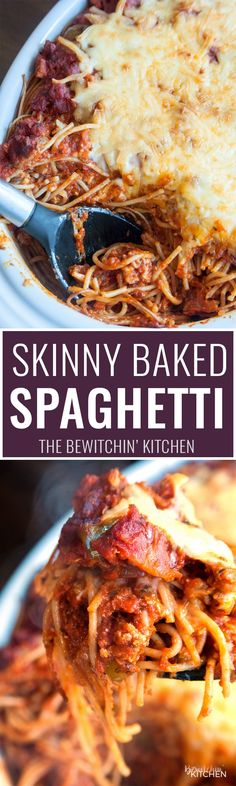 This skinny baked spaghetti recipe is a lightened up version of a classic spaghetti casserole. Both healthy and hearty, this wholesome dinner recipe favorite uses ancient grain pasta and the best spaghetti sauce ever. This sauce has tons of vegetables, light cheese (part skim mozzarella), and both ground turkey and turkey Italian sausage. A healthy baked spaghetti recipe is within reach, add it to your meal plan!