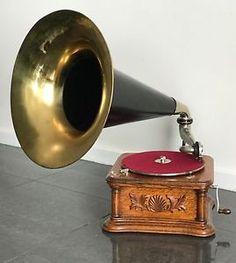 Original-HMV-G-amp-T-Horn-wind-up-Gramophone-Phonograph-78-rpm-Exquisite