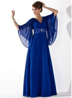 A-Line/Princess V-neck Floor-Length Chiffon Mother of the Bride Dress With Ruffle Beading Sequins (008005706) - JJsHouse