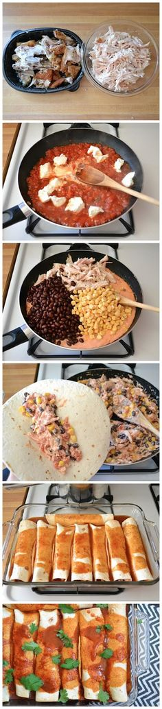 Creamy Chicken and Black Bean Enchiladas Recipe