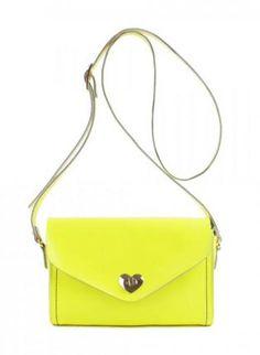 Blue Shoulder Bag - Heart-shaped Button Envelope Bag