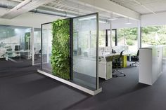open office space with plant wall Open Space Office, Bureau Open Space, Office Space Design, Modern Office Design, Workspace Design, Office Workspace, Office Walls, Office Designs, Office Floor